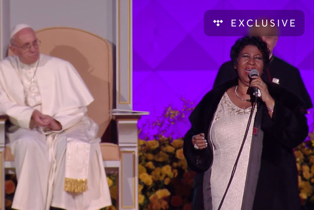 Aretha Franklin Performs at the Festival of Families for Pope Francis in 2015